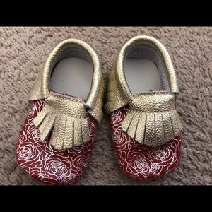 Other - Red and Gold baby girl moccasins.